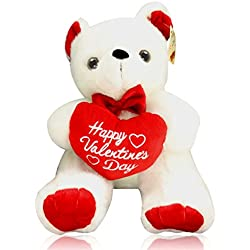 """Happy Valentine's Day Bear - 12"""" Plush White Stuffed Animal with Red Heart Teddy Gift By bogo Brands"""