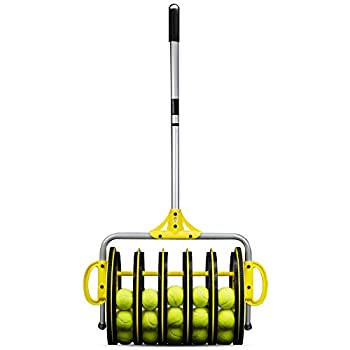 Image of Court Accessories Crown Sporting Goods EZ Roller 2-in-1 Tennis Ball Collector and Ball Hopper with 25 Practice Balls
