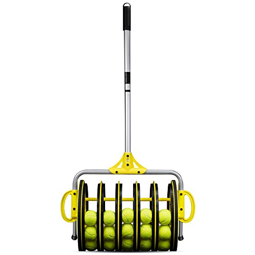 Tennis Ball Mower - EZ Roller 2-in-1 Tennis Ball Collector and Ball Hopper with 25 Practice Balls by Crown Sporting Goods