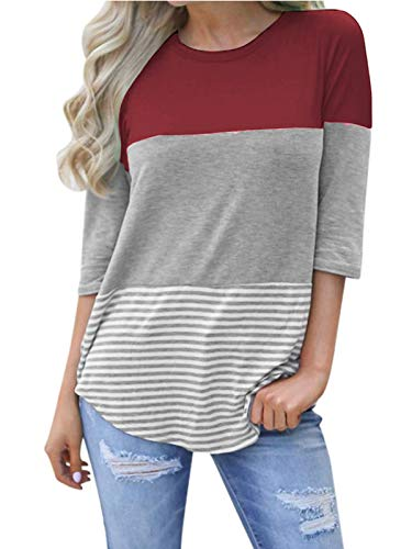 - kigod Womens 3/4 Sleeve Back Lace Elegant Top Blouses Triple Colorblock Striped Casual Tops Tee Shirt (Wine Red, Medium)