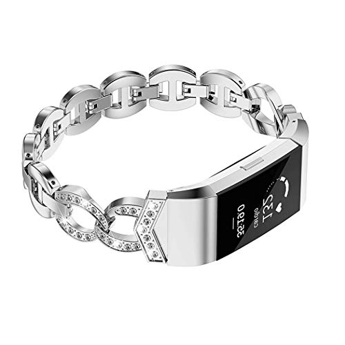 - Wearlizer Compatible for with Charge 2 Bands Metal Replacement Charge hr 2 Bands/Assesories/Strap Adjustable for Bands Charge 2 Bling Style Silver