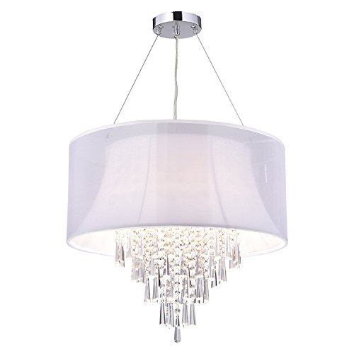 4 Light Double White Drum Shade Crystal Pendant Chandelier