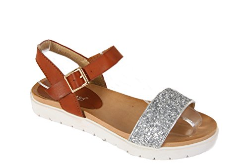 SEÑORA SANDAL SUMMER 3 ANKLE MUJER ZAPATO TAMAÑOS FOOTBED 8 STRAP Silver SANDAL GLITTER paqWYdgw