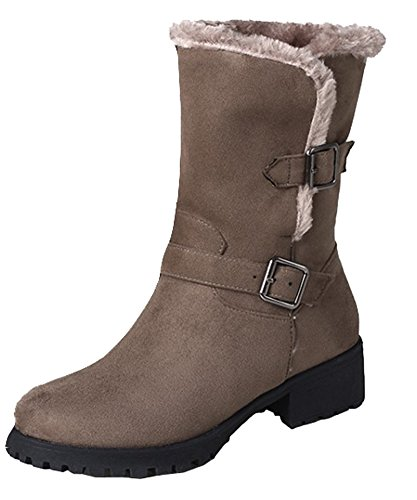 Waterproof Ankle Boots Faux Buckle Fur Women's With Pull SHOWHOW Heels Mid On Brown Lined 8nzqw5xREt