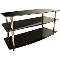 Home Source Industries DR-8145 Glass TV Stand, Black