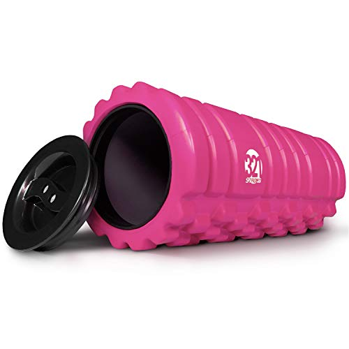 321 STRONG Foam Roller for Muscle Massage with End Caps - Store Keys, Towels, and Other Accessories - Pink