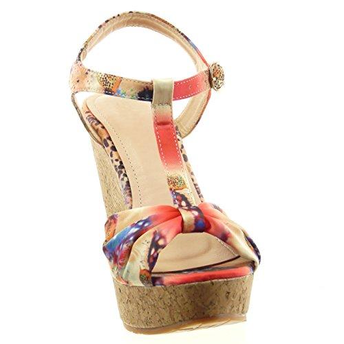 Sopily - Scarpe da Moda sandali aperto cinturino alla caviglia donna fiori nodo sughero Tacco zeppa 12 CM - soletta sintetico - Rosa