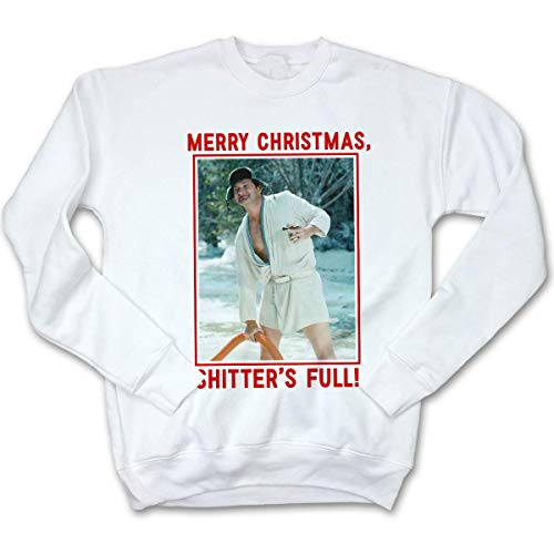 Fluffy Crate Merry Christmas, Shitter's Full! Ugly Christmas Sweatshirt | Cousin Eddie -