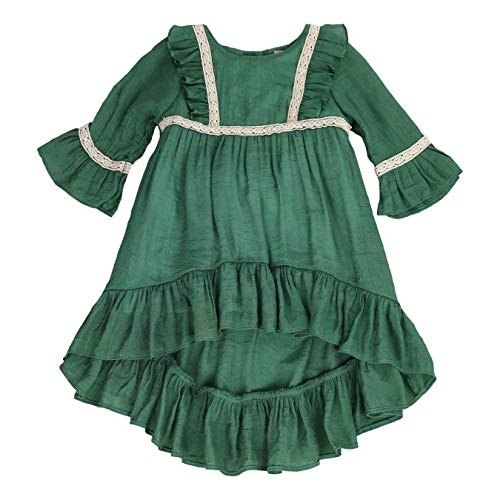 LELEFORKIDS - Toddlers and Girls (2T-7/8th) Prairie Pretty Ruffled High-Low Soft Cotton Dress in Forest Green Size 7/8