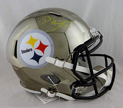 Ben Roethlisberger Autographed Pittsburgh Steeler F/S Chrome Helmet - Fanatic Auth Yellow