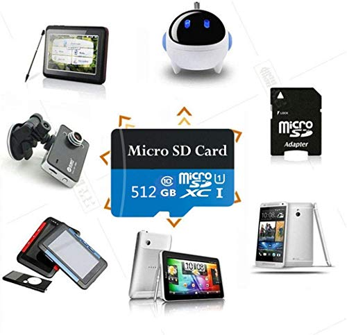 Micro SD Card 512GB High Speed Class 10 Micro SD SDXC Card with Adapter (512GB)