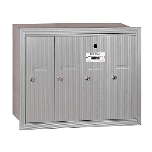 Commercial Door Mailbox - Salsbury Industries 3504ARU Recessed Mounted Vertical Mailbox with 4 Doors and USPS Access, Aluminum