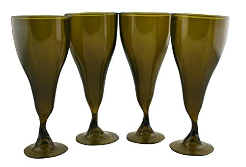 Wine Glasses Made From Recycled Bordeaux Wine Bottles 7 OZ - set of 4 (Amber, 7.5 Oz)