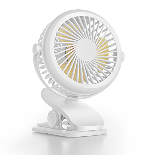 OBOSOE Portable Fan, Clip on & Desk Personal Small Fan with 360 Degree Rotation, USB Rechargeable Battery Operated Electric Fan for Car, Stroller, Office, Bedroom, Traveling, Camping, White