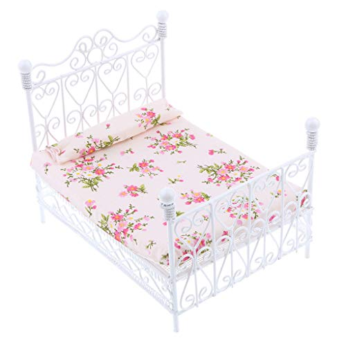 (1:12 Dollhouse Miniature Metal European Retro Double Bed Bedroom Furnitures)
