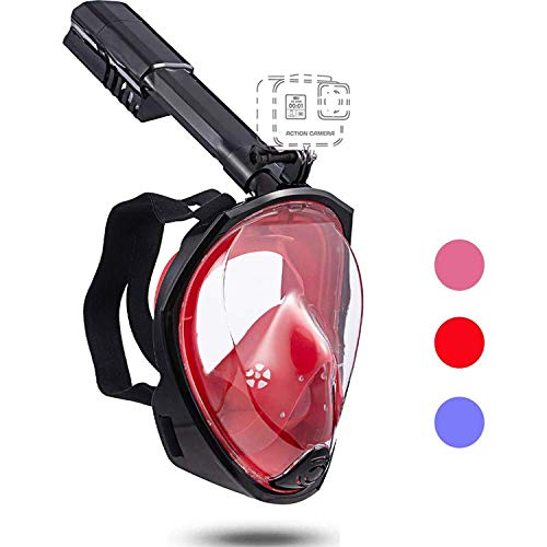 Full face Snorkeling mask with New Safety Breathing System, 180-degree Panoramic View, Waterproof and Anti-Fog, with Camera Stand, Universal Snorkeling mask for Adults and Children
