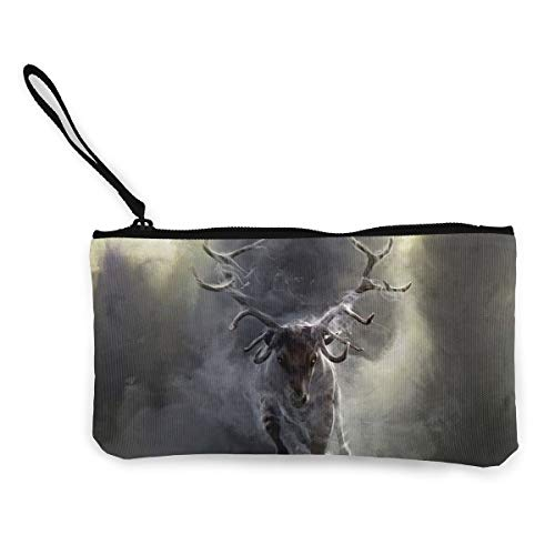 Cloud Animal Deer Unisex Canvas Coin Purse Change Cash Bag Zipper Small Purse Wallets With Handle