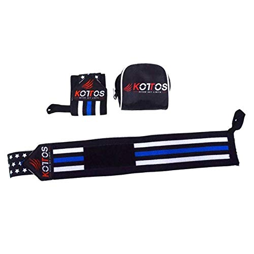 BYKOTTOS Wrist Wraps Weightlifting, Powerlifting Straps, Crossfit Wrist Support, Weight Lifting, Workout Wrist Braces, Wrist Wraps for Men and Women (Thin Blue LINE)