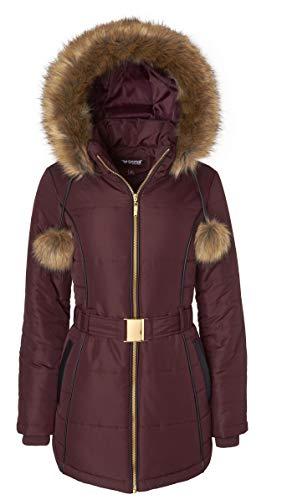 Women's Down Alternative Long Belted Puffer Coat Fur Trim Detachable Hood - Merlot (X-Large)