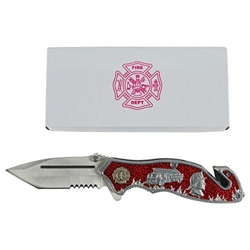 HM Red Folding FD Firefighter Rescue Pocket Knife
