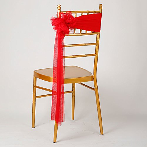 ndex Stretch Ready to Use Chair Sashes Bow for Beach Wedding Party Decoration (Red) (Satin Spandex Tie)
