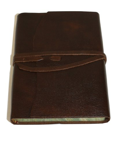 Roma Luxury Chocolate Italian Leather Journal with Marble Edged Paper - 12 x 16 - Edged Journal Italian Leather