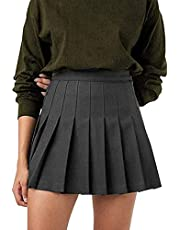 Women Girls High Waisted Pleated Skater Tennis School A-Line Skirt Uniform Skirts with Lining Shorts, Black, X-Small