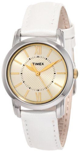Timex Women's | White Leather Strap Champagne Dial | Classics Dress Watch T2N682