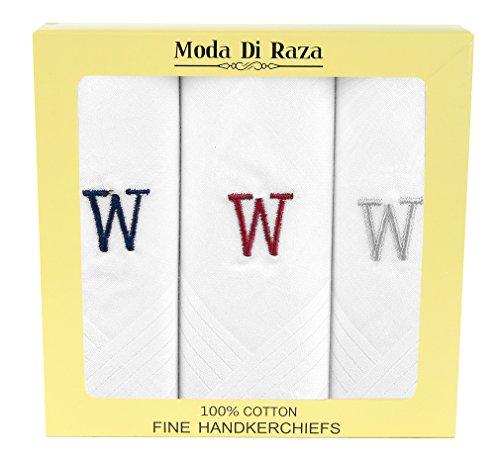 - Moda Di Raza Men's Cotton Hanky Monogrammed Handkerchiefs Initial Letter - W