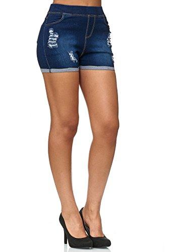 ArizonaShopping - Shorts Pantalon Jeans Court pour Femmes dchir D2430 Bleu Fonc