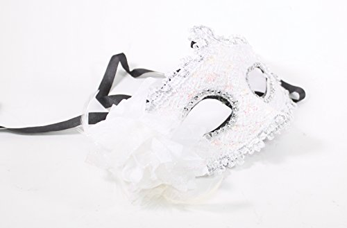 Glitter Ball Costumes (WPYS- Women's Flower Feather Lace Eye Mask Masquerade Ball Party Halloween Costume (White))