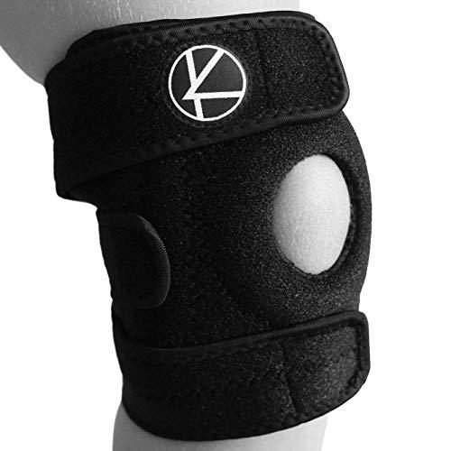 Adjustable Kids Knee Brace Support - Best Knee Support for Youth, Arthritis, ACL, MCL, LCL, Sports Exercise, Meniscus Tear. Open Patella Neoprene Stabilizer Wrap for Children, Boys, Girls (Black) (Best Knee Brace For Football)