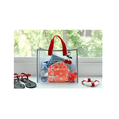 Clear X Transparent Carry PVC charmer Hand Tote Mixed Womens Bag Fashion Gray Bags Shopping Swimming Travel Summer amp;Red Color Beach r1PwX14q