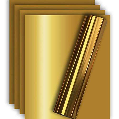 Gold Metallic HTV Heat Transfer Foil Vinyl for Tshirt and Apparel 12 X 10(Pack of 5), Easy to Weed and Iron on, Guaranteed Size