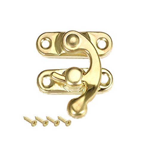 uxcell Antique Right Latch Hook Hasp, Swing Arm Latch Plated Golden 20 Pcs w - Gold Hinge Box