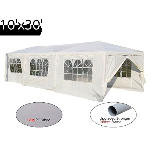 Peaktop 10'x30' Heavy Duty Outdoor Party Wedding Tent Canopy Gazebo Storage Shelter (10x20 White Party Tent Gazebo)