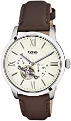Fossil Men's ME3064 Townsman Stainless Steel Mechanical Watch with Brown Leather Band