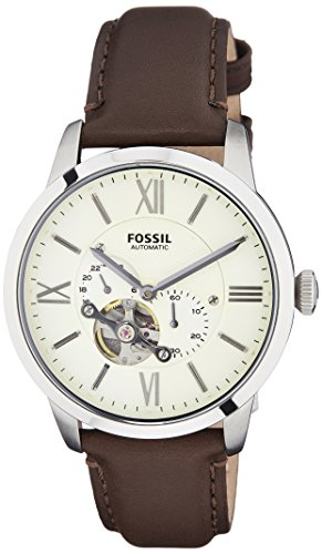 Fossil Men's ME3064 Townsman Stainless Steel Mechanical Watch with Brown Leather Band ()