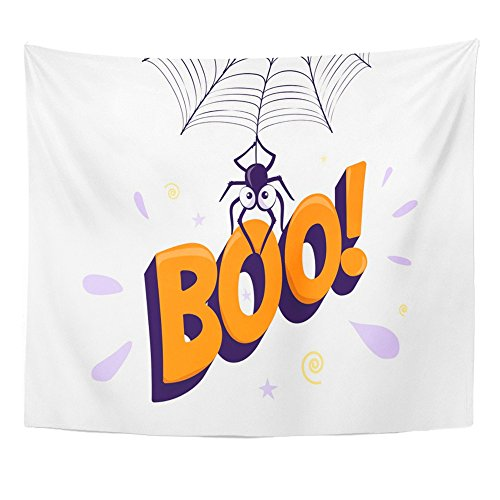 (Emvency 50x60 Inch Tapestry Mandala Home Decor Halloween Boo Cartoon Spider Hanging from and Holding Up 3D Letter Sign Simple Tapestries Bedroom Living Room)