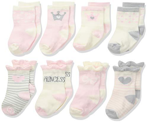 Baby Girl Socks - Gerber Baby Girls 8-Pair Wiggle Proof Sock, Princess, 0-6 Months