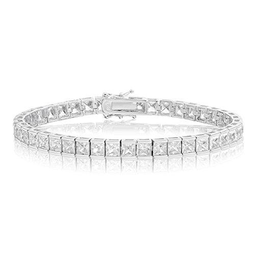 Sterling Silver Princess Bracelets (Rhodium Plated Sterling Silver Square Princess Cut 4x4 White Cubic Zirconia Tennis Bracelet 7.25