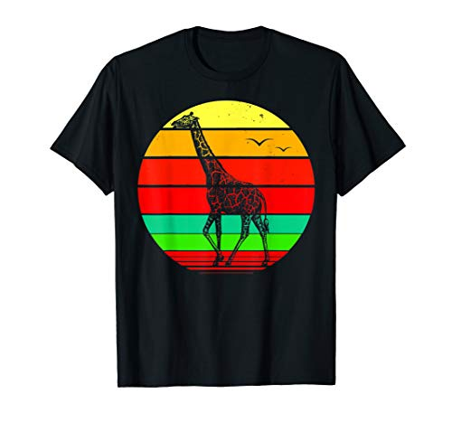(Retro Color Sunset Silhouette Vintage Giraffe  T-Shirt)