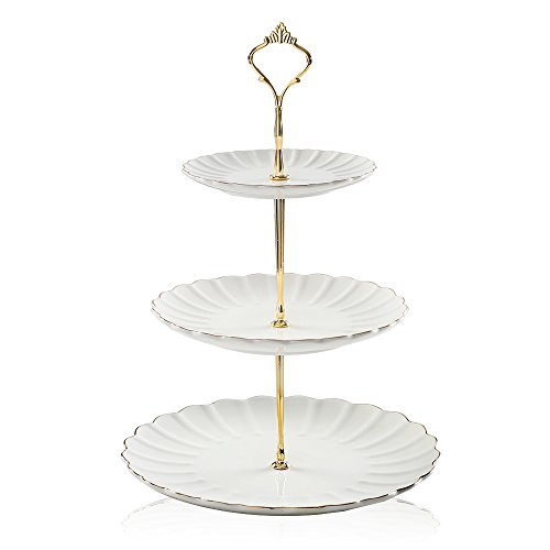 - Pukka Home 3 tier ceramic cake stand wedding, dessert cupcake stand for tea party serving platter