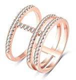 TEMEGO Large Rings for Women,14k Rose Gold Wrap Wide Band Full Finger Ring,CZ Pave Ring,Size 8
