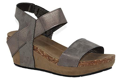 MVE Shoes Women's Open Toe Strappy Wedge - Summer Vegan Leather Platform Sandal - Low Heeled Sandals, Pewter Size 8.5