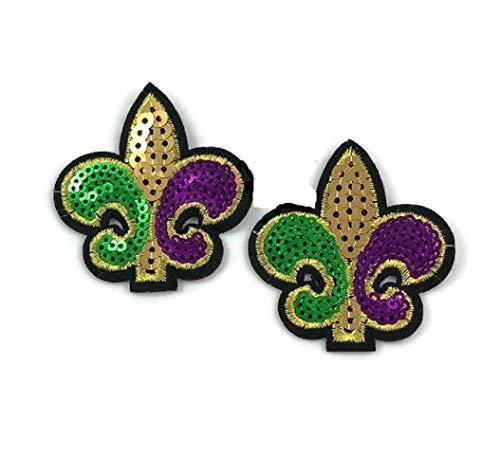 2 (Two) Fleur De Lis Mardi Gras Applique Gold Purple Green Sequins Iron On Patch Shirt Jean Pocket Decoration 2