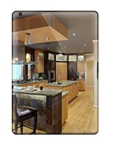Ipad Case - Tpu Case Protective For Ipad Air- Contemporary Kitchen With Black Ceiling And Slate Tiles