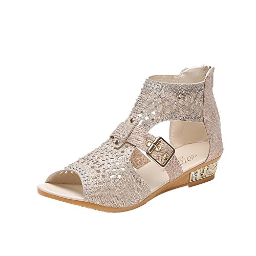 Transer Ladies Sexy Hollow Out Sandals- Women Summer Roman Sandals Comfy Slippers Wedge Shoes Casual Beige