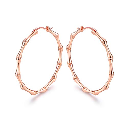 Barzel Gold, Rose Gold, or White Gold Plated Bamboo Hoop Earrings (Rose -