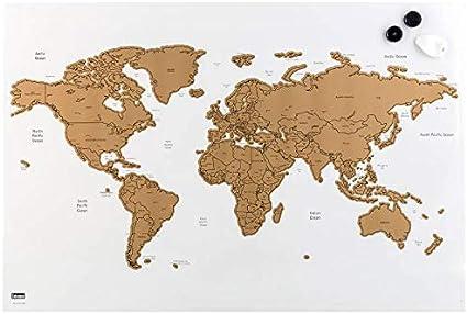 Idena - Pizarra magnética (60 x 40 cm), diseño de mapamundi: Amazon.es: Oficina y papelería